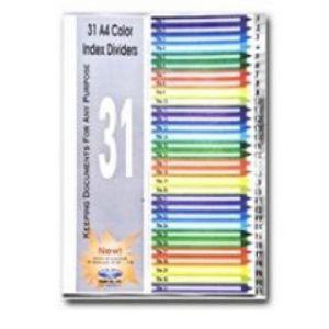 bìa phân trang nhựa 31 số